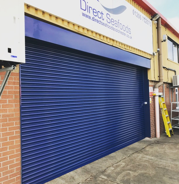A new Roller shutter installed for Direct Seafoods in Colchester, Essex. We supplied and installed this roller shutter with a powder coated finish in Gentian Blue.