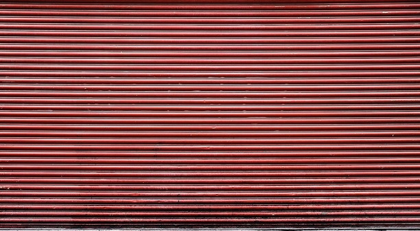 Red stripped roller shutter door